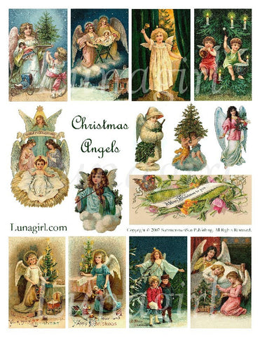 Christmas Angels Digital Collage Sheet - Lunagirl