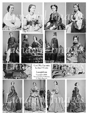 Civil War Ladies & Gents Digital Collage Sheet - Lunagirl