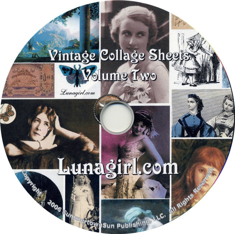 Digital Collage Sheets on CD Volume #2 - Lunagirl
