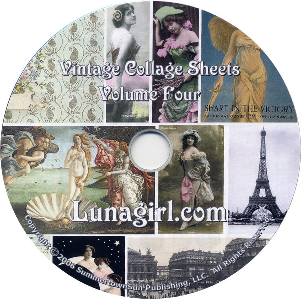 Digital Collage Sheets on CD Volume #4 - Lunagirl