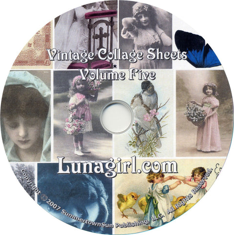 Digital Collage Sheets on CD Volume #5 - Lunagirl
