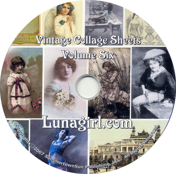 Digital Collage Sheets on CD Volume #6 - Lunagirl