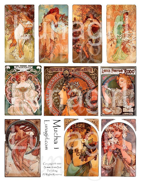 Mucha #1 Digital Collage Sheet - Lunagirl