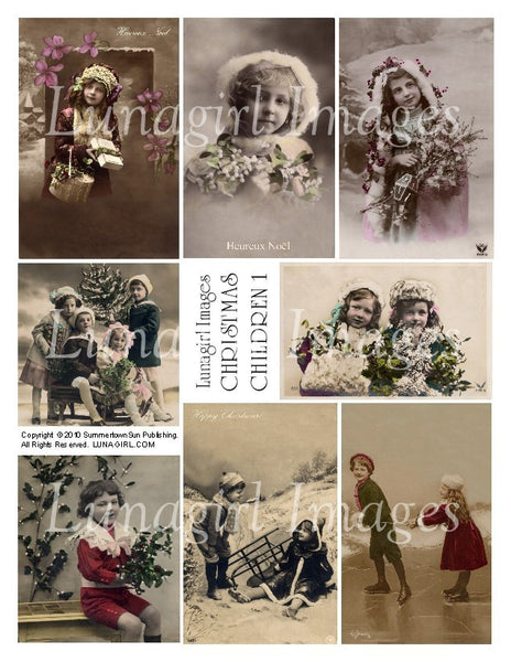 Christmas Children Digital Collage Sheet - Lunagirl