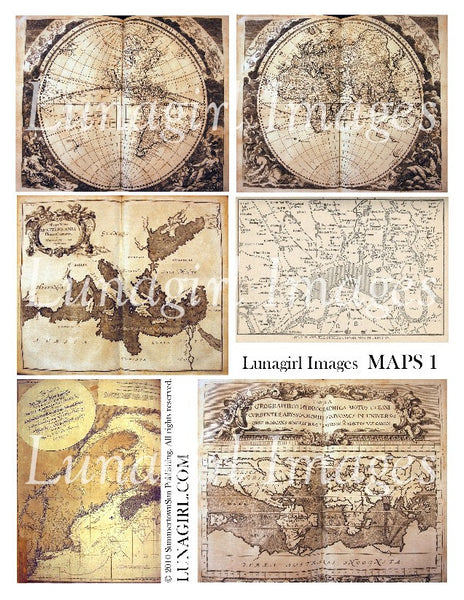 Maps #1 Digital Collage Sheet - Lunagirl
