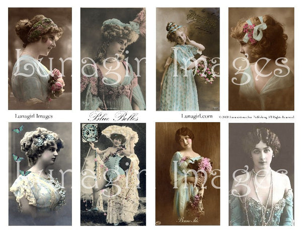 Blue Belles Digital Collage Sheet - Lunagirl