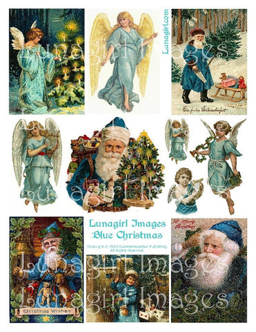 Blue Christmas Digital Collage Sheet - Lunagirl