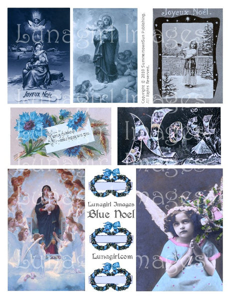 Blue Noel Digital Collage Sheet - Lunagirl