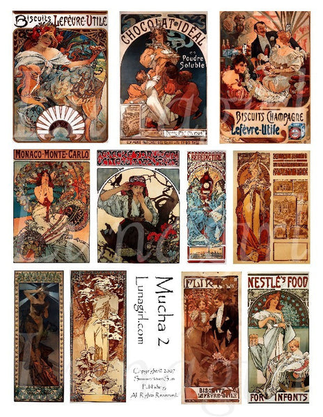 Mucha #2 Digital Collage Sheet - Lunagirl