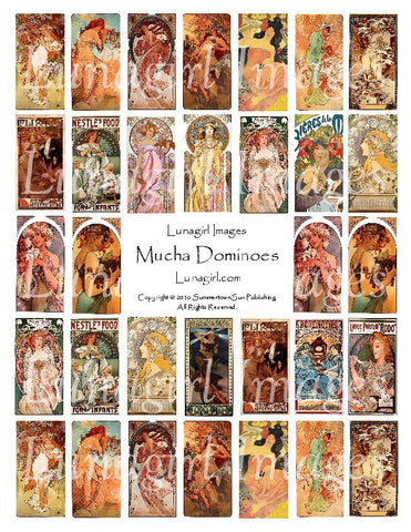 "Mucha Dominoes (1x2"") Digital Collage Sheet - Lunagirl"