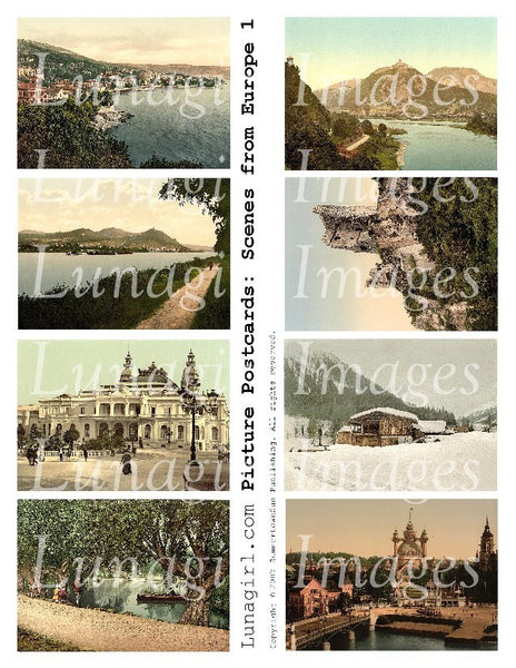 Picture Postcards: Scenes From Europe #1 Digital Collage Sheet - Lunagirl