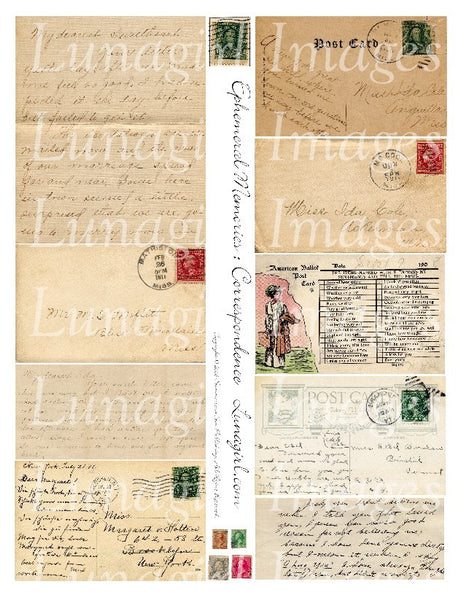 Ephemeral Memories: Correspondence Digital Collage Sheet - Lunagirl