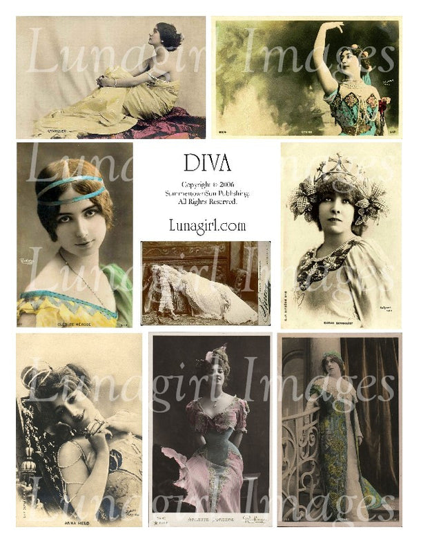 Digital Collage Sheets: Divas Actresses Showgirls