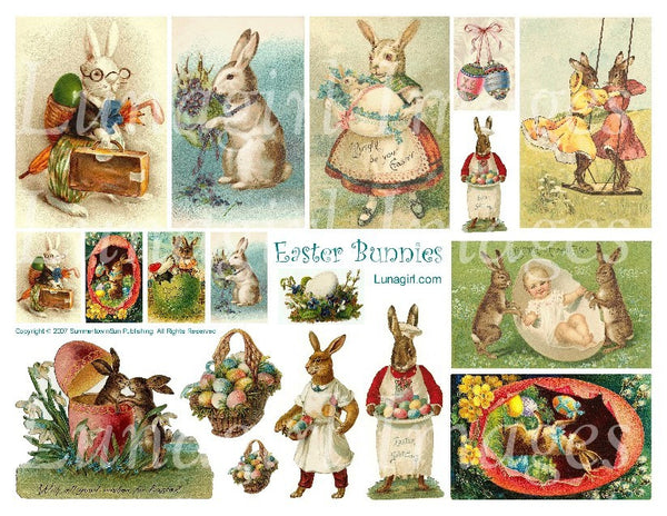 Easter Bunnies Digital Collage Sheet - Lunagirl