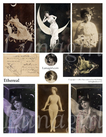 Ethereal Digital Collage Sheet - Lunagirl