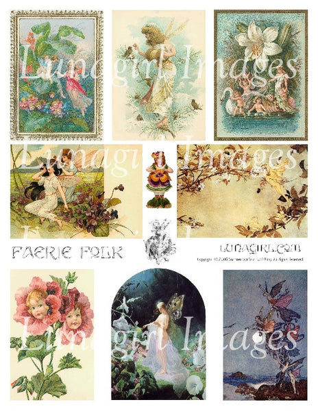 Faerie Folk Digital Collage Sheet - Lunagirl