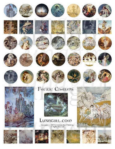Faerie Charms Inchies and Circles Digital Collage Sheet - Lunagirl