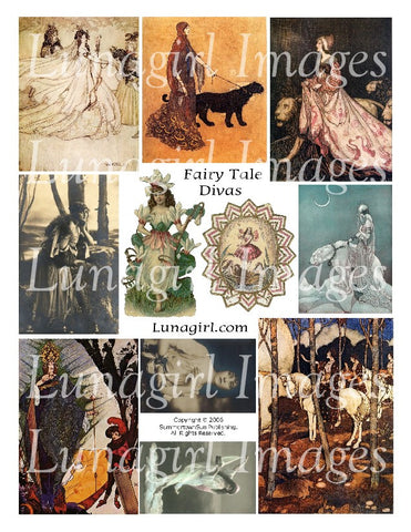 Fairy Tale Divas Digital Collage Sheet - Lunagirl
