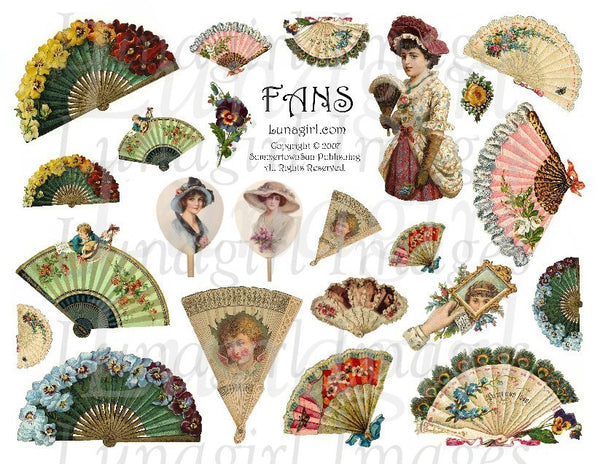 Victorian Fans Digital Collage Sheet - Lunagirl