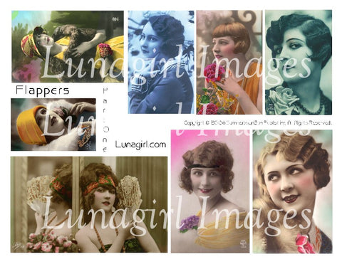 Flappers #1 Digital Collage Sheet - Lunagirl