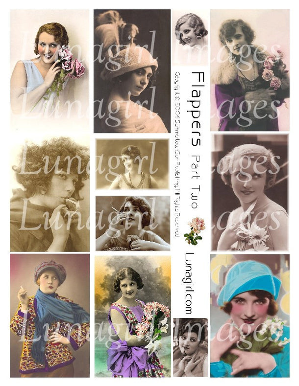 Digital Collage Sheets: Flappers