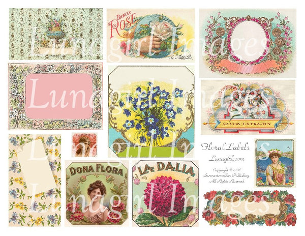 Floral Labels Digital Collage Sheet - Lunagirl