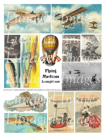 Flying Machines Digital Collage Sheet - Lunagirl