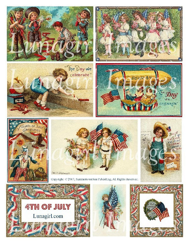 Digital Collage Sheets: 4th of July and Patriotic