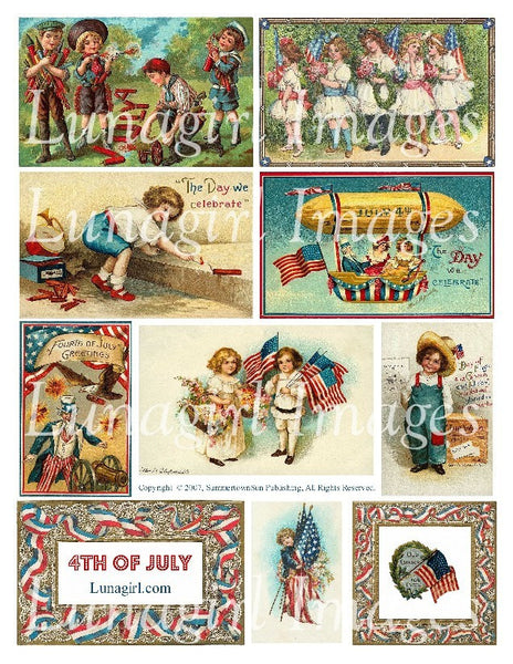 4th of July Digital Collage Sheet - Lunagirl