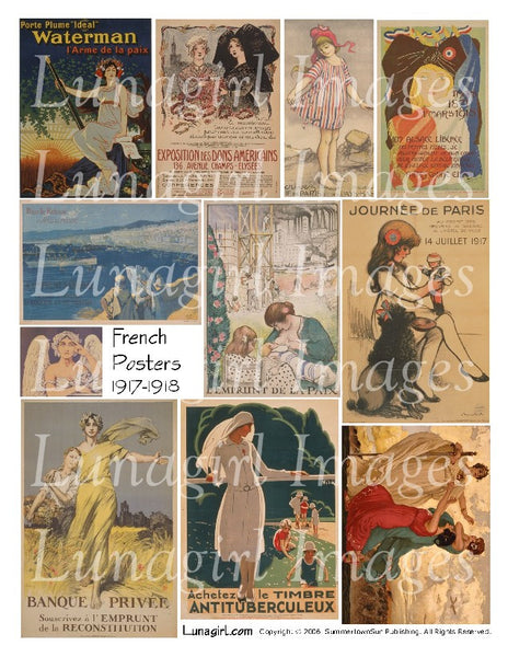 French Posters 1917 1918 Digital Collage Sheet - Lunagirl