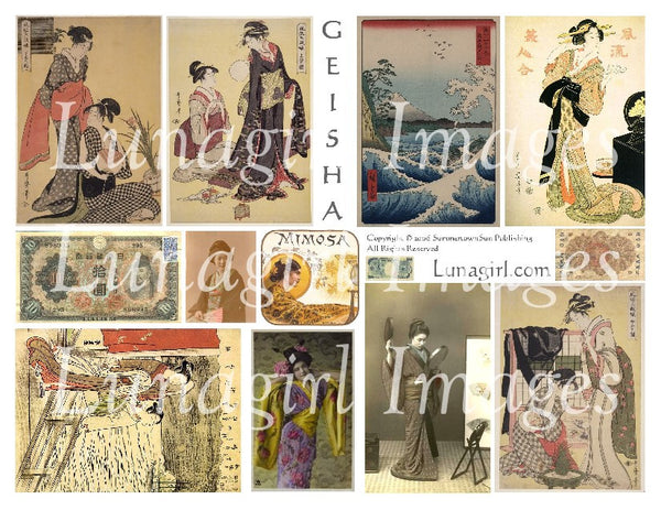 Geisha Vintage Images #1 Digital Collage Sheet - Lunagirl