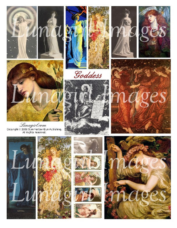 Digital Collage Sheets: Goddess & Myth