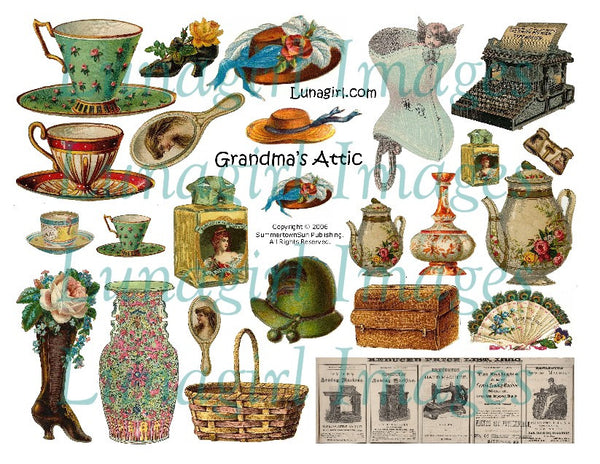 Grandma's Attic Digital Collage Sheet - Lunagirl