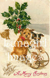 vintage christmas postcard digital image dogs on sled in snow victorian holidays
