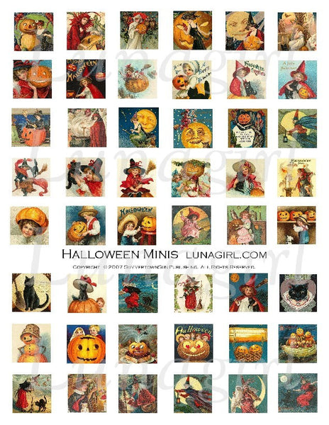 Halloween Minis Inchies Digital Collage Sheet - Lunagirl