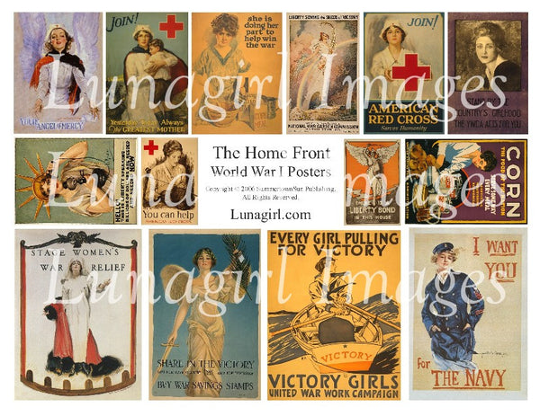 Home Front: Women of WWI Digital Collage Sheet - Lunagirl