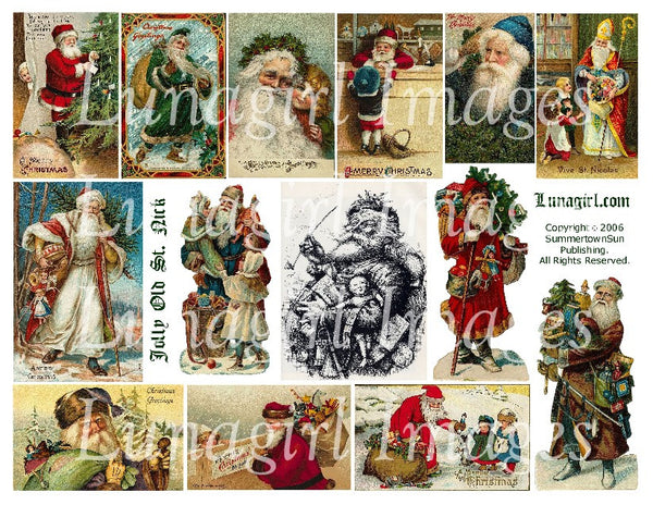Jolly Old St Nick Digital Collage Sheet - Lunagirl