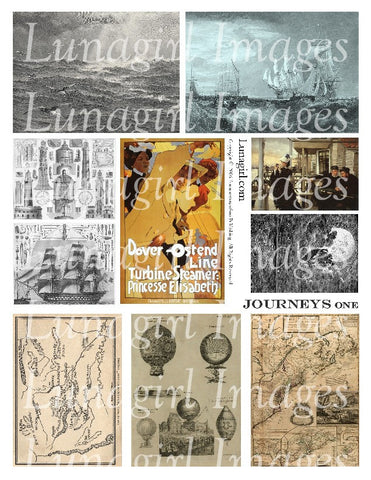 Journeys #1 Digital Collage Sheet - Lunagirl