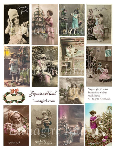 Joyeux Noel Digital Collage Sheet - Lunagirl