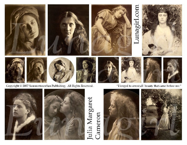 Julia Margaret Cameron Vintage Photos Digital Collage Sheet - Lunagirl