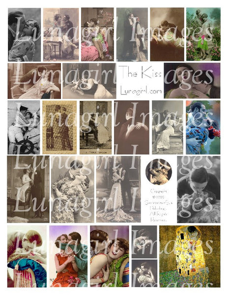 The Kiss Digital Collage Sheet - Lunagirl