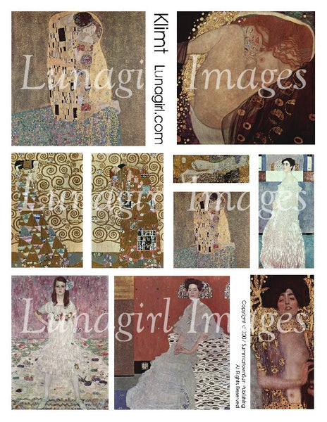 Klimt Digital Collage Sheet - Lunagirl