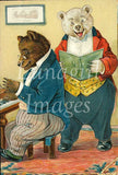 digital vintage image animal victorian bears dressed up comical card