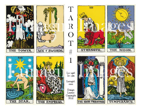 Vintage Tarot Cards #1 Digital Collage Sheet - Lunagirl