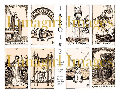 Vintage Tarot Cards #2 Sepia Digital Collage Sheet - Lunagirl