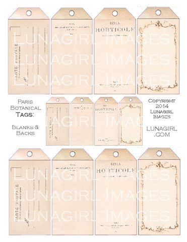Paris Ephemera Tags Digital Collage Sheet - Lunagirl