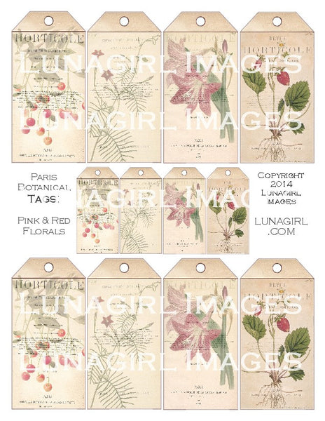 Paris Botanical Tags: Pink & Red Florals Digital Collage Sheet - Lunagirl