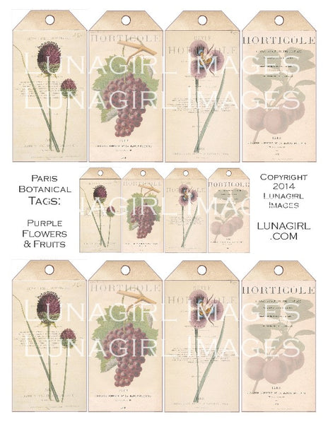 Paris Botanical Tags: Purple Flowers & Fruit Digital Collage Sheet - Lunagirl