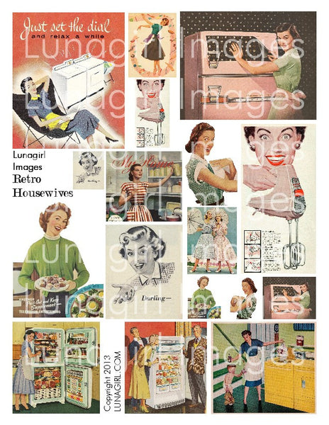 Retro Housewives Digital Collage Sheet - Lunagirl
