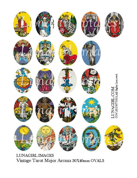Vintage Tarot Cards Ovals 30 x 40mm Digital Collage Sheet - Lunagirl